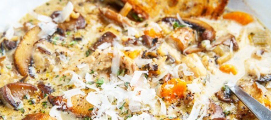 Vad laga för mat? Recept: Gräddig svampsoppa med kyckling och ris