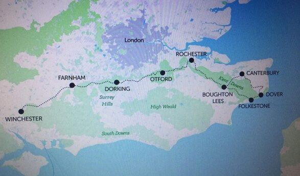 Info, fotogalleri, videor: PILGRIMSVANDRING eller aktiv utflykt till naturen: Winchester-Canterbury eller Winchester-Dover (ca 241 km, 11 dagar) + Bifogad minimibudget för 2 personer!